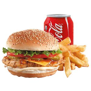 Grilled Chicken Burger, Chips, Can of Drink